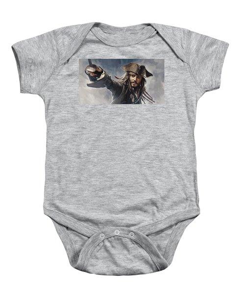 Pirates Of The Caribbean Johnny Depp Artwork 2 Baby Onesie