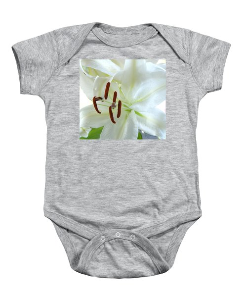 Pollinated White Tiger Lily Baby Onesie