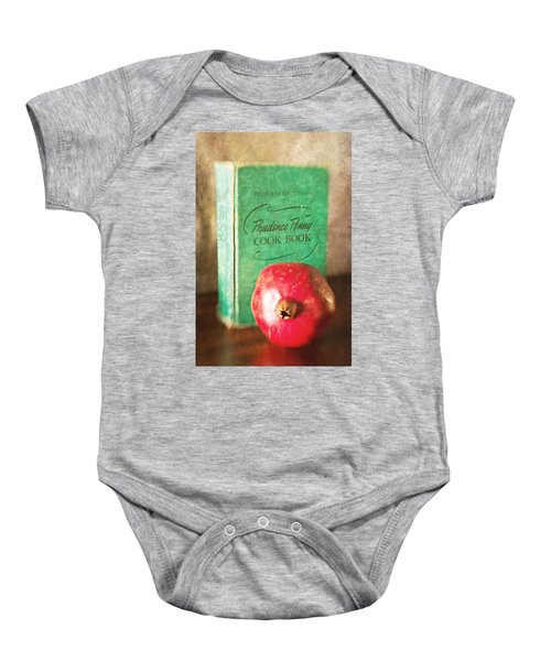 Pomegranate And Vintage Cook Book Still Life Baby Onesie