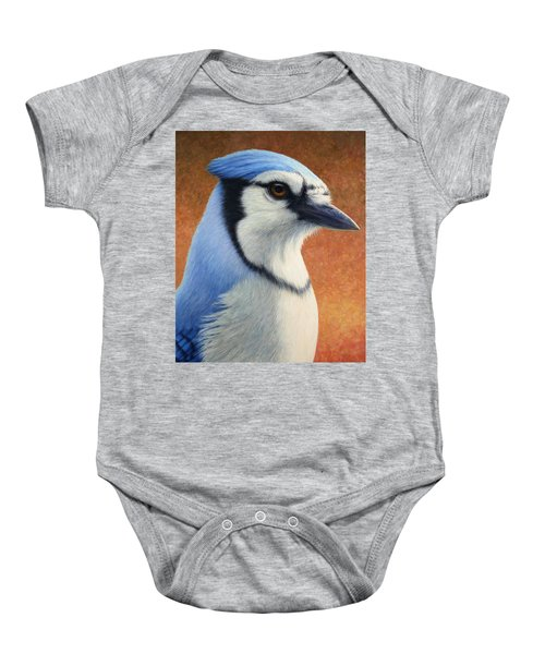 Portrait Of A Bluejay Baby Onesie by James W Johnson