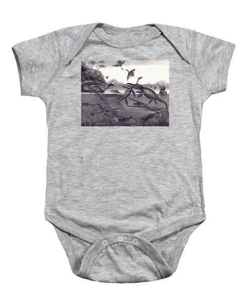 Prehistoric Animals Of The Lias Group Baby Onesie by English School