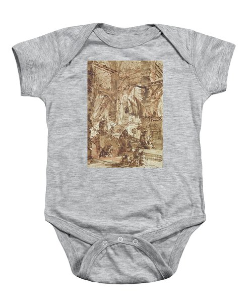 Preparatory Drawing For Plate Number Viii Of The Carceri Al'invenzione Series Baby Onesie