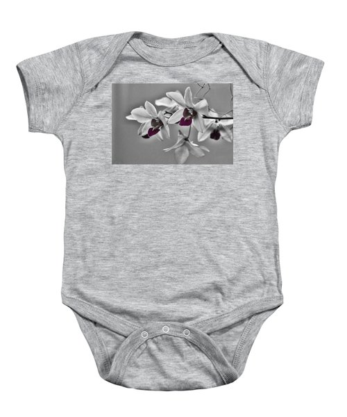 Purple And Pale Green Orchids - Black And White Baby Onesie