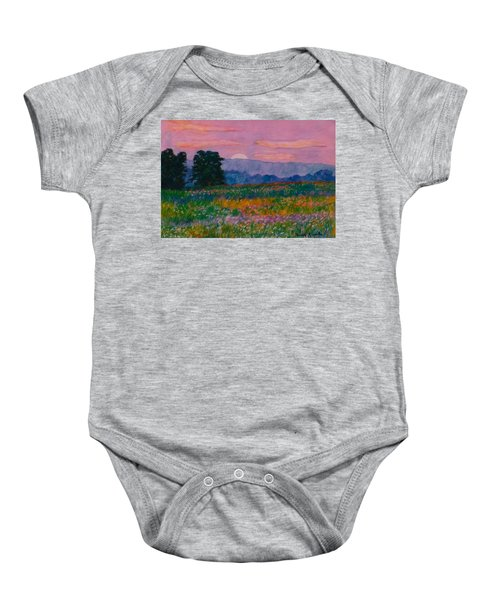Baby Onesie featuring the painting Purple Sunset On The Blue Ridge by Kendall Kessler