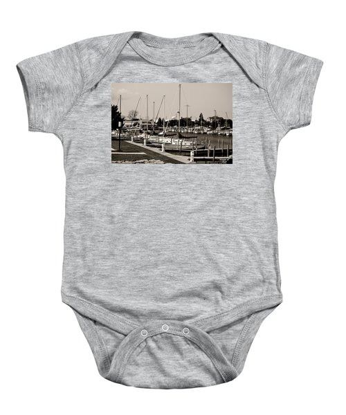 Ready To Sail In Black And White Baby Onesie