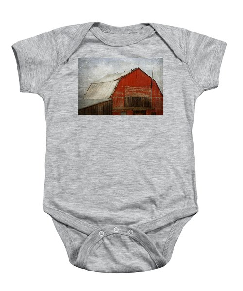 Red Barn And First Snow Baby Onesie