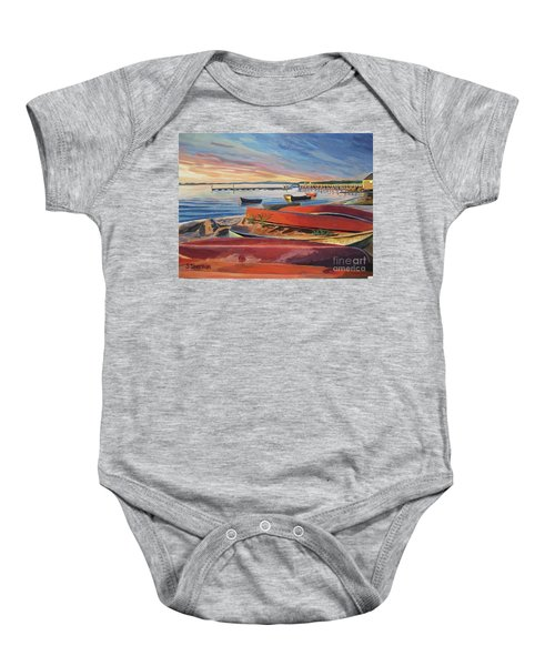 Red Canoe Sunset Baby Onesie