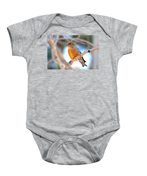 Red Crossbill On Aspen Baby Onesie by Marilyn Burton