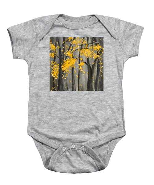 Rejuvenating Elements- Yellow And Gray Art Baby Onesie