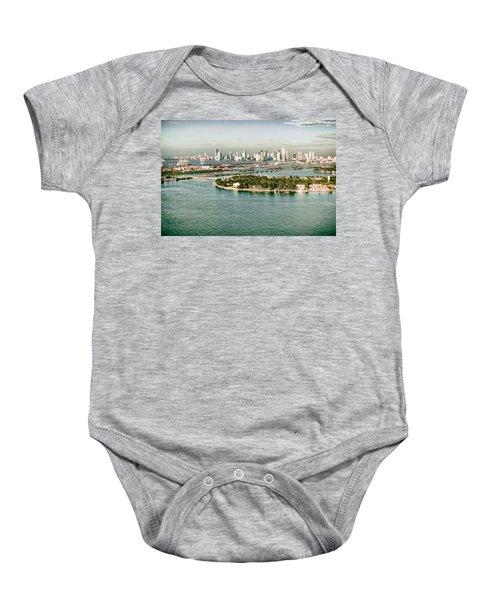 Retro Style Miami Skyline And Biscayne Bay Baby Onesie