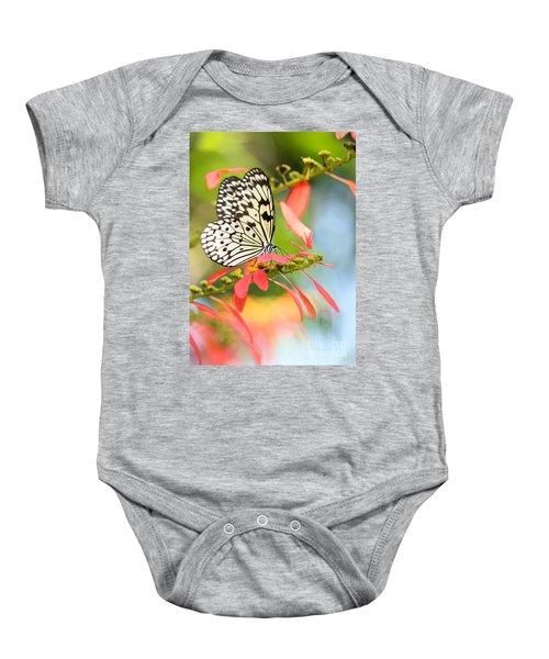 Rice Paper Butterfly In The Garden Baby Onesie