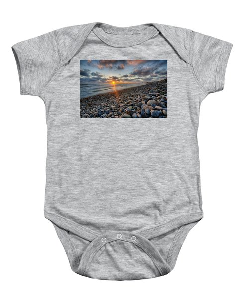 Rocky Coast Sunset Baby Onesie