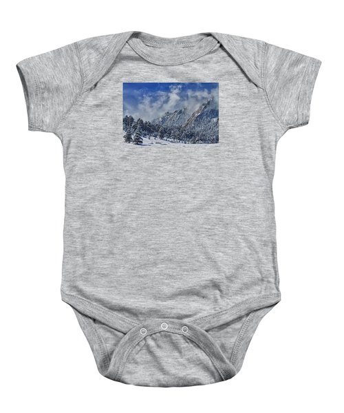Rocky Mountain Dusting Of Snow Boulder Colorado Baby Onesie