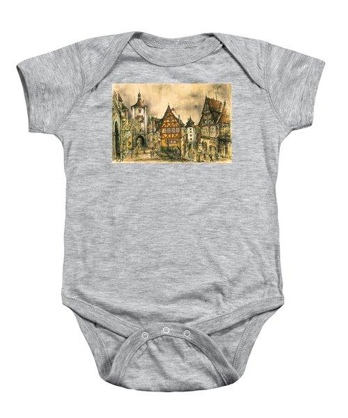 Rothenburg Bavaria Germany - Romantic Watercolor Baby Onesie