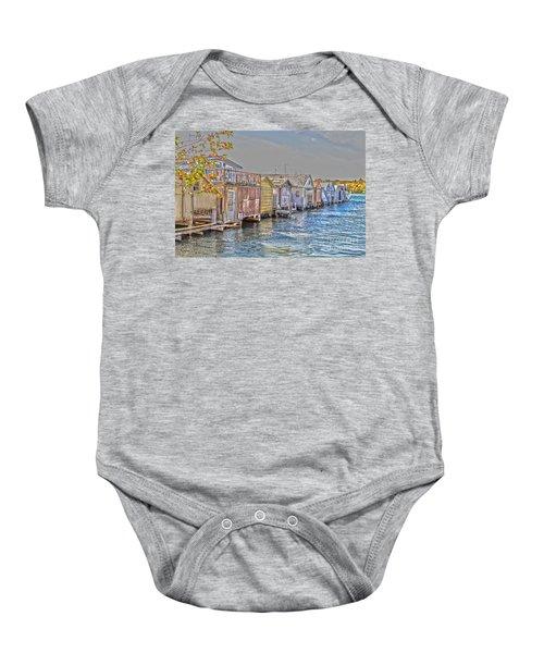 Row Of Boathouses Baby Onesie