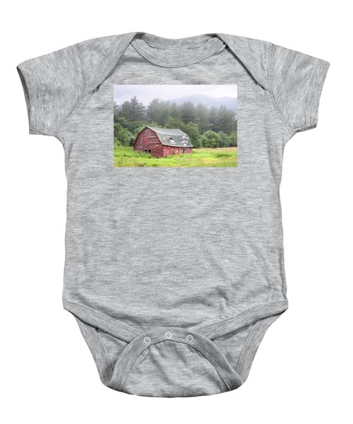 Rustic Landscape - Red Barn - Old Barn And Mountains Baby Onesie