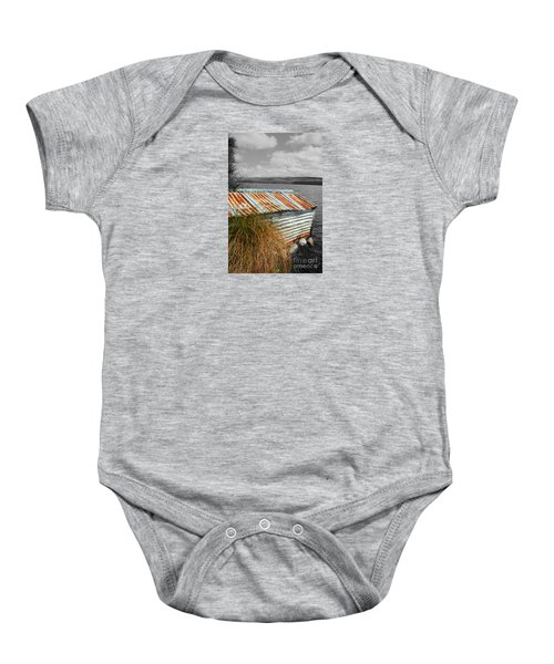 Baby Onesie featuring the photograph Rusty Boatshed On Lake. by Nareeta Martin