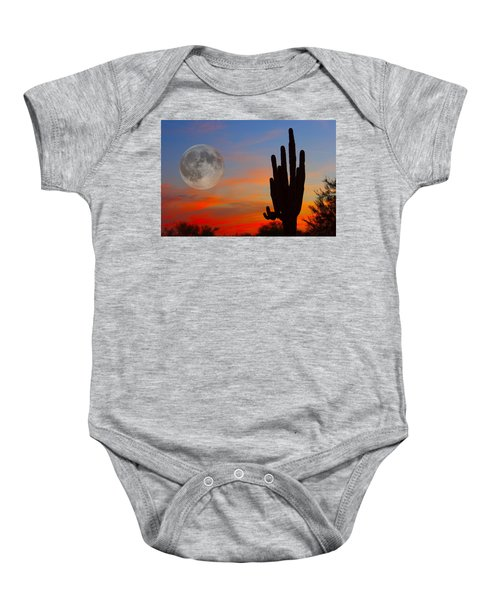 Saguaro Full Moon Sunset Baby Onesie