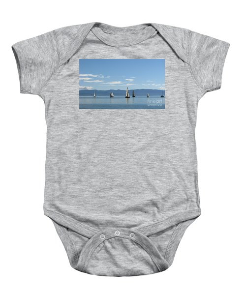 Sailboats In Blue Baby Onesie