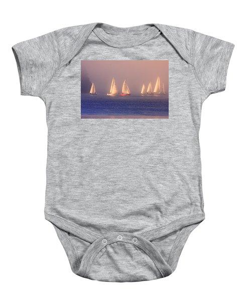 Sailing On A Misty Ocean Baby Onesie