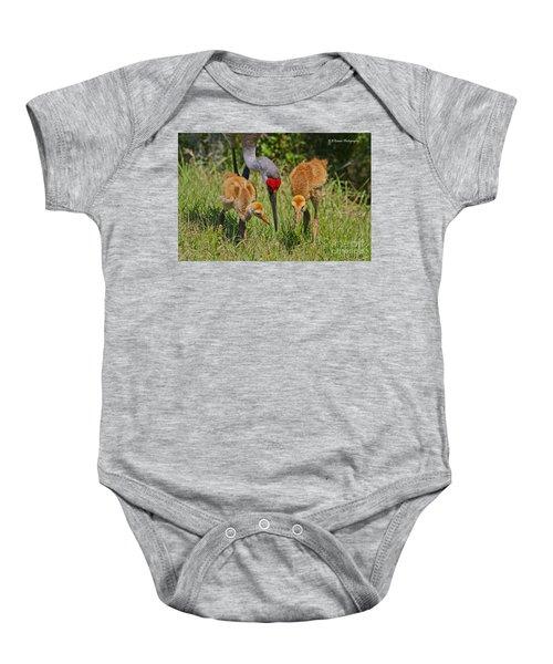 Sandhill Crane Family Feeding Baby Onesie
