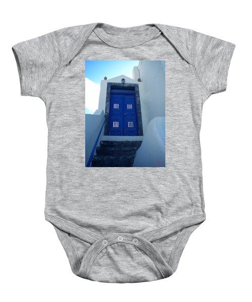 Baby Onesie featuring the photograph Santorini Door  To Heaven  by Colette V Hera  Guggenheim