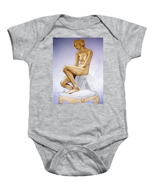 Tinted Figure Drawing Of A Seated Female Nude Dreaming Baby Onesie