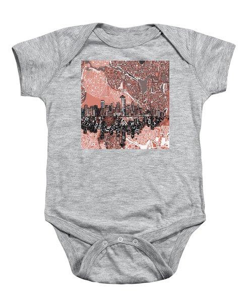 Seattle Skyline Abstract 5 Baby Onesie