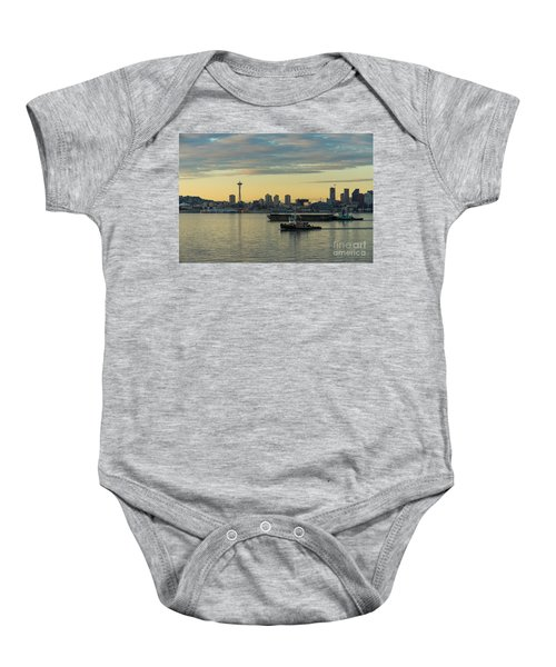 Seattles Working Harbor Baby Onesie by Mike Reid
