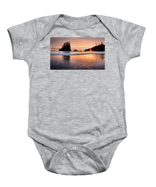 Second Beach Sunset Baby Onesie by Leland D Howard