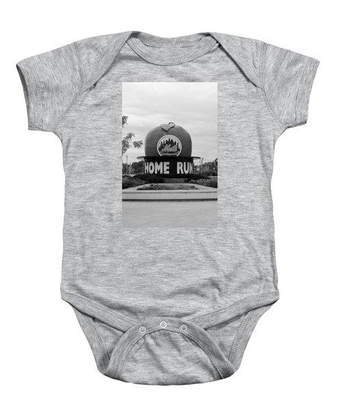 Shea Stadium Home Run Apple In Black And White Baby Onesie