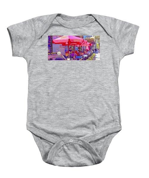Sidewalk Cafe Digital Painting Baby Onesie