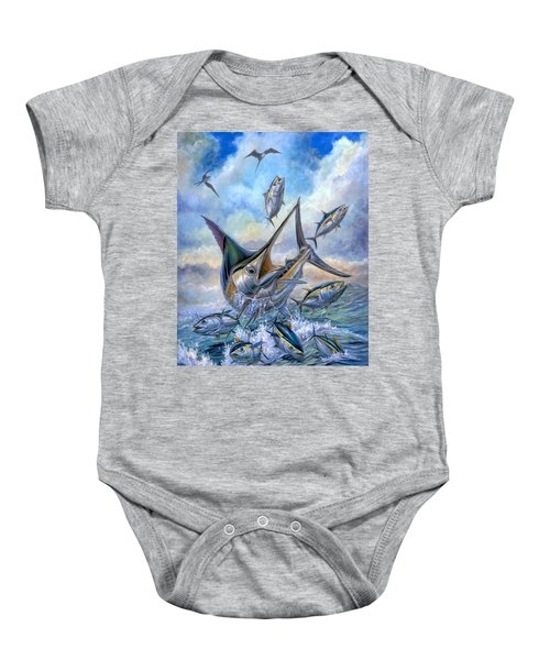 Small Tuna And Blue Marlin Jumping Baby Onesie