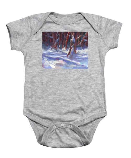 Snow Laden - Winter Snow Covered Trees Baby Onesie