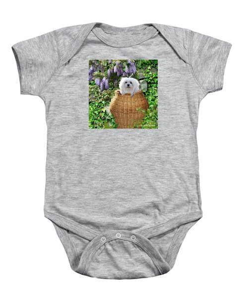 Baby Onesie featuring the mixed media Snowdrop In A Basket by Morag Bates