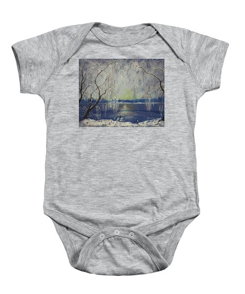 Snowy Day At The Lake Baby Onesie