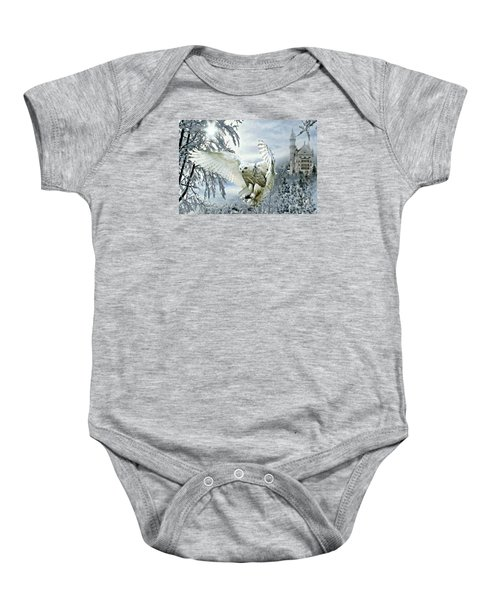 Baby Onesie featuring the mixed media Snowy Owl by Morag Bates