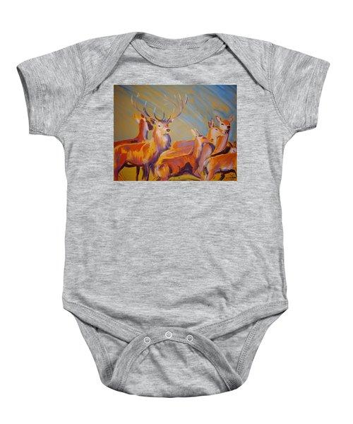 Stag And Deer Painting Baby Onesie