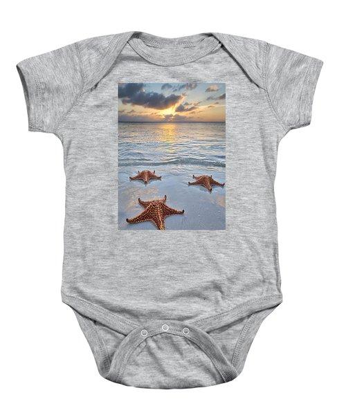 Starfish Beach Sunset Baby Onesie