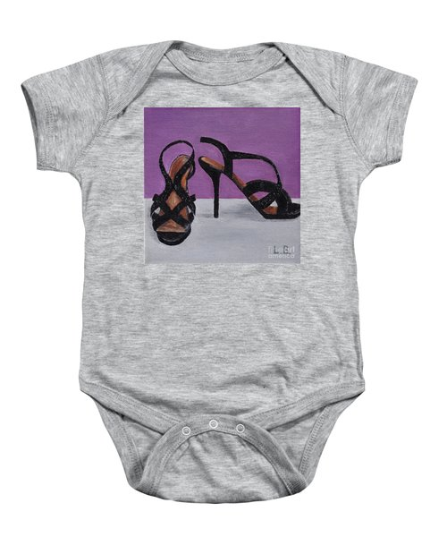 Strappy Black Heels For Maddy Baby Onesie