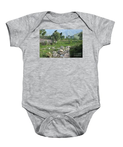 Stream Trees House And Mountains Swat Valley Pakistan Baby Onesie