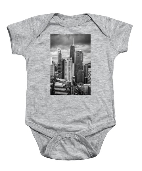 Streeterville From Above Black And White Baby Onesie by Adam Romanowicz