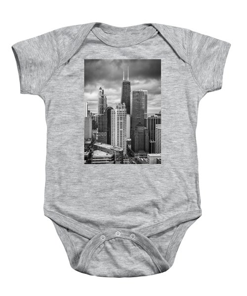 Streeterville From Above Black And White Baby Onesie