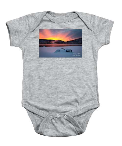 Baby Onesie featuring the photograph Sunrise At Bass Lake by Vincent Bonafede