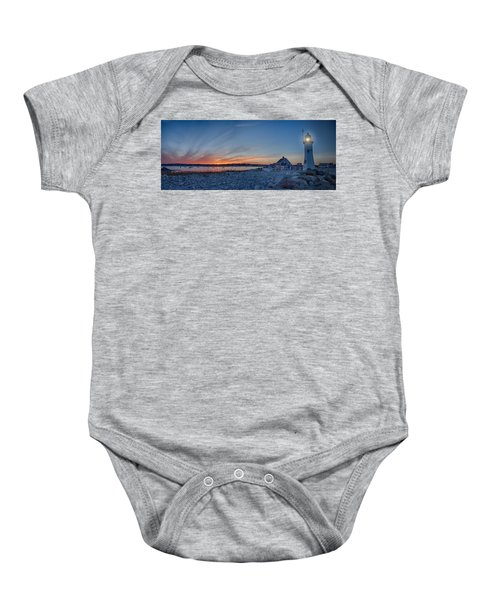 Sunset At Scituate Light Baby Onesie