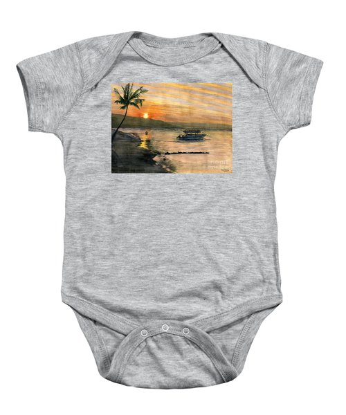 Sunset At Tropical Island Baby Onesie