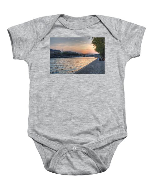 Baby Onesie featuring the photograph Sunset On The Seine by Jennifer Ancker