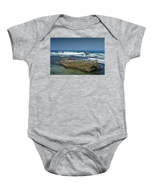 Surf Waves At La Jolla California With Gulls Perched On A Large Rock No. 0194 Baby Onesie