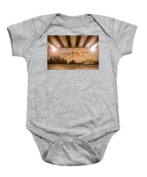 Sydney Graffiti Skyline Baby Onesie by Semmick Photo