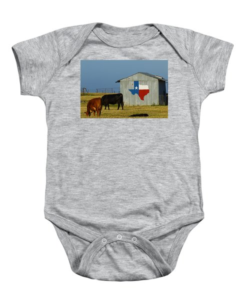 Texas Farm With Texas Logo Baby Onesie